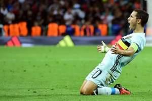 I'm alive!: Hazard celebrates after scoring for Belgium against Hungary. Photo credit: https://mobile.facebook.com/uefaeuro?_rdr
