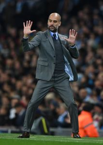 Another Class Act in the City: Pep Guardiola reacts from the touchline during his side's 3-1 win over Barcelona. (Photo credits: Mirror.co.uk)