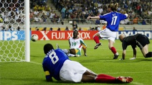 Record Makers: Senegal scoring the opening goal of the game against France.