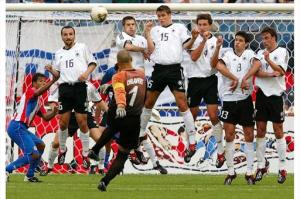 How CHILL can it get?: Goalkeeper Chilavert of Paraguay takes a free-kick during the tournament.