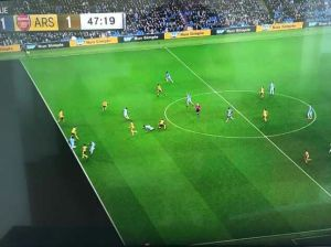 Offside?: Video replays show Leroy Sane in an offside position just before he scores the equalizer for Manchester City. (Photo Credit: Whatsapp)