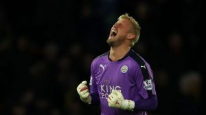 Following in the steps of the fathers: Schmeichel played an important role in the Leicester side that shocked the world.