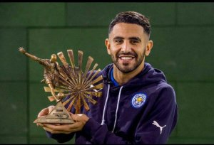 Player of the Year: Riyad Mahrez poses with the BBC African Footballer of the Year award