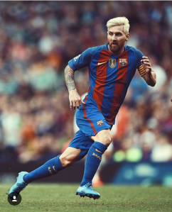 Blonde Great: Lionel Messi in action