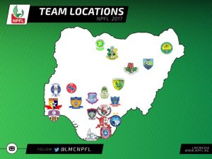 Their Locations: Nigerian Professional Football League's various club locations