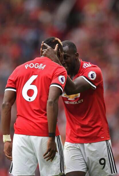 Paul Pogba and Romelu Lukaku celebrate against West Ham